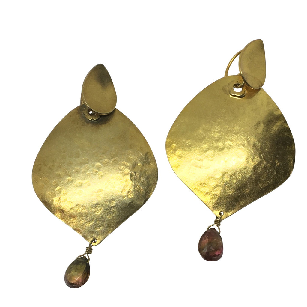Gold hammered tourmaline drop earrings