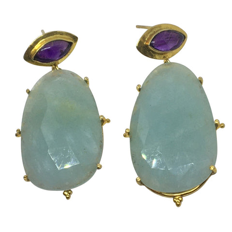 Aquamarine and amethyst gold earrings