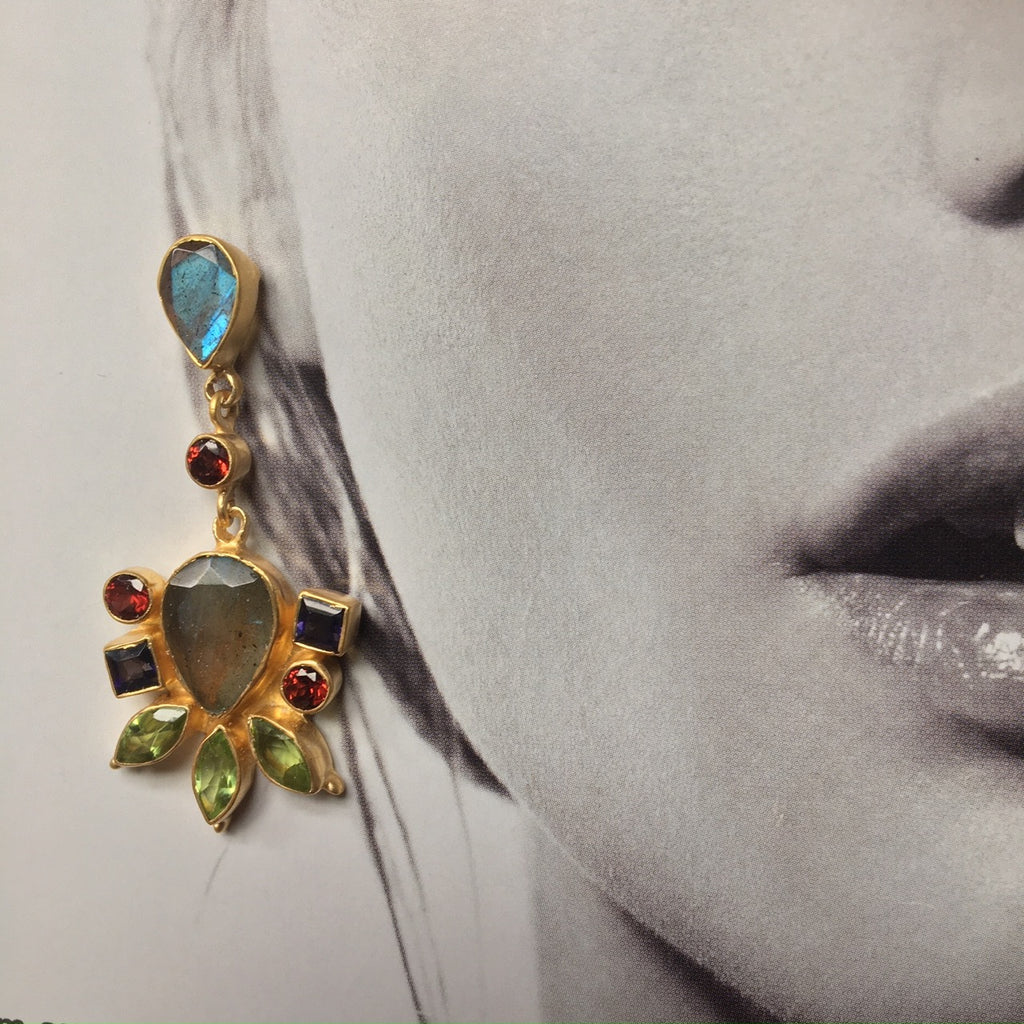 """Florence"" coloured gem earrings"