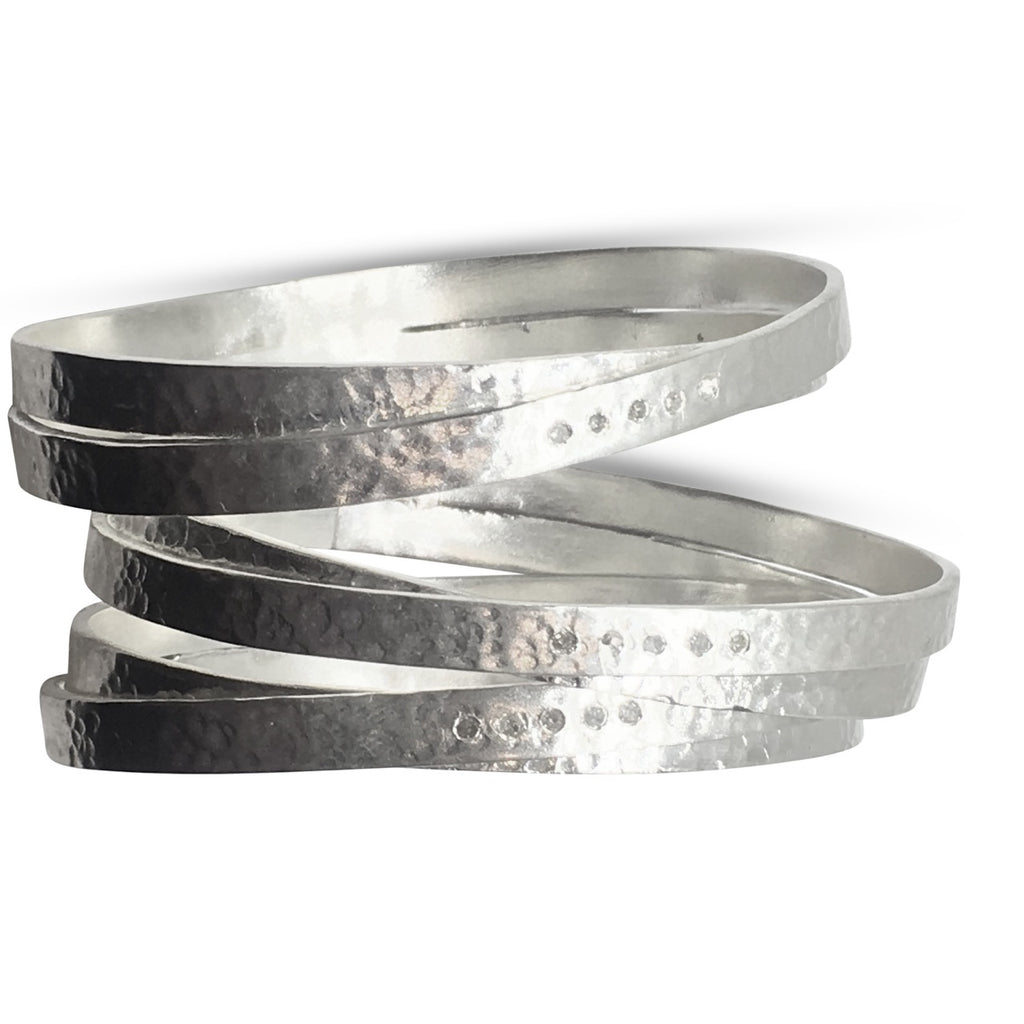Five diamond silver wrap bangle