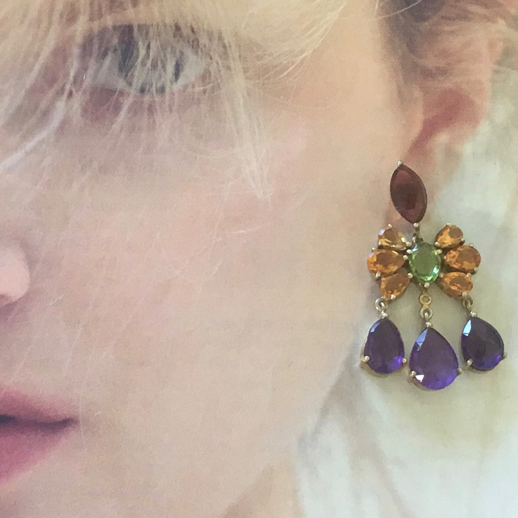 Marquise and pear multi gem earrings