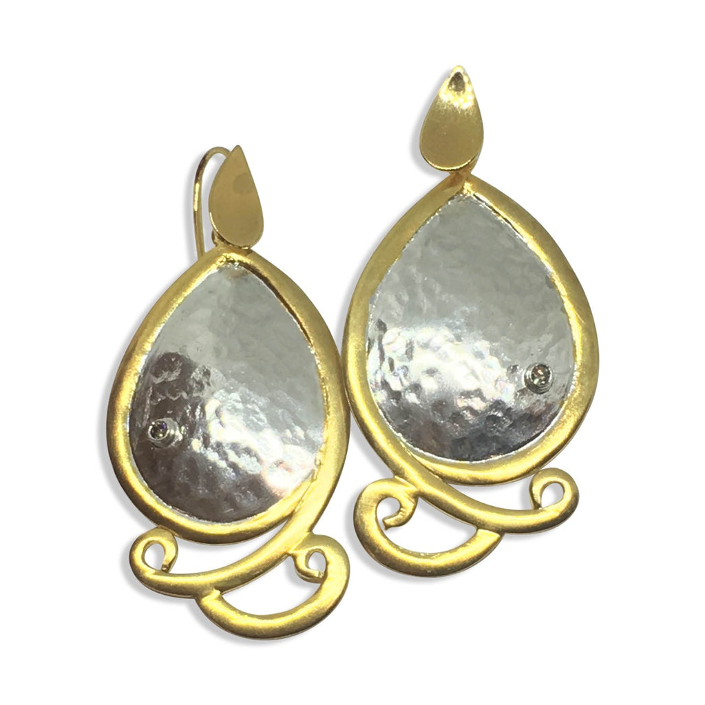 Two tone hammered diamond earrings