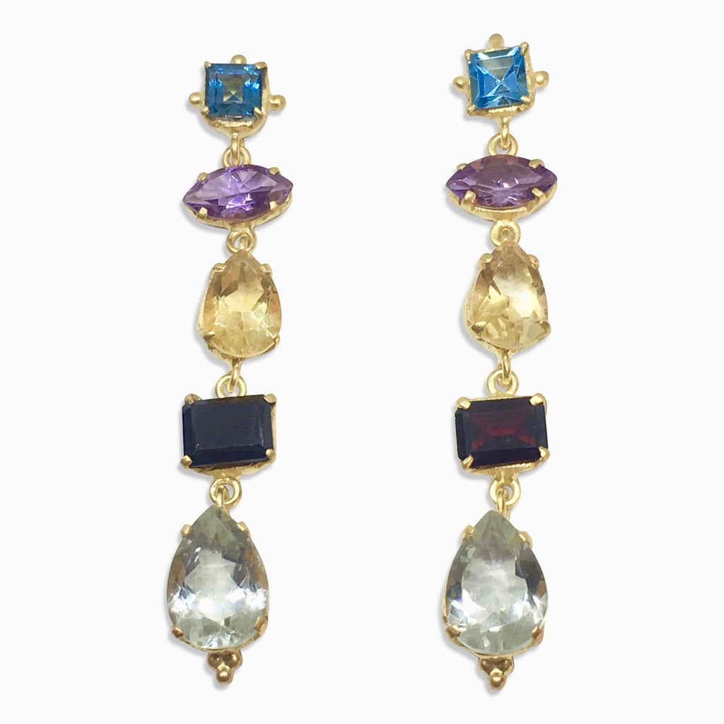 Multi gem 5 stone drop earrings