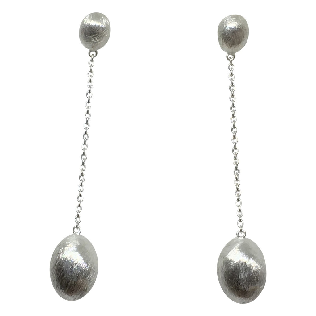 Silver double oval drop and chain earrings