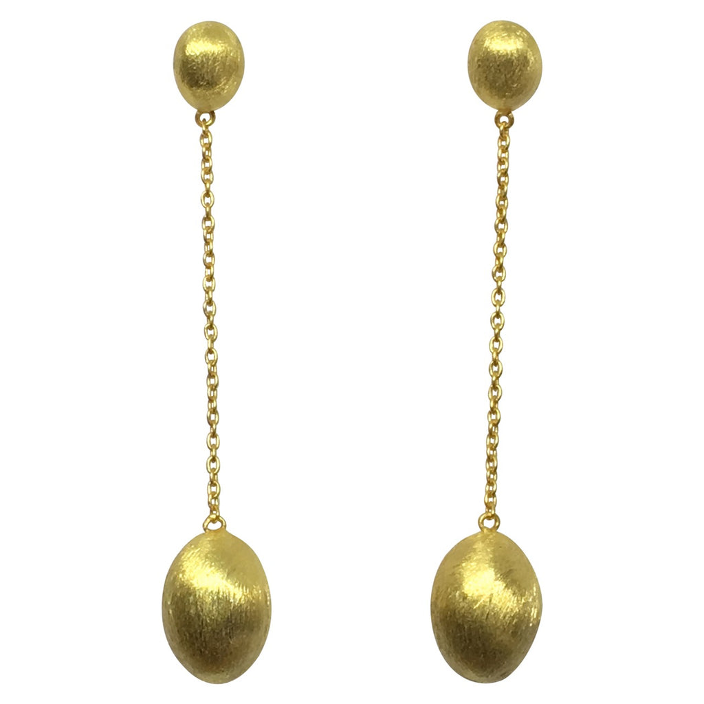 Gold double oval drop chain earrings