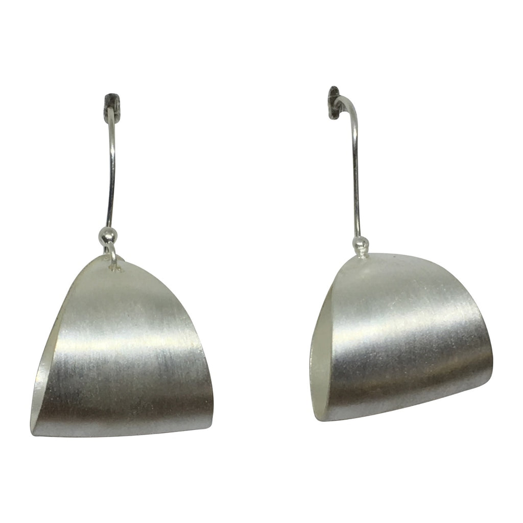 Matt silver curve formed earrings