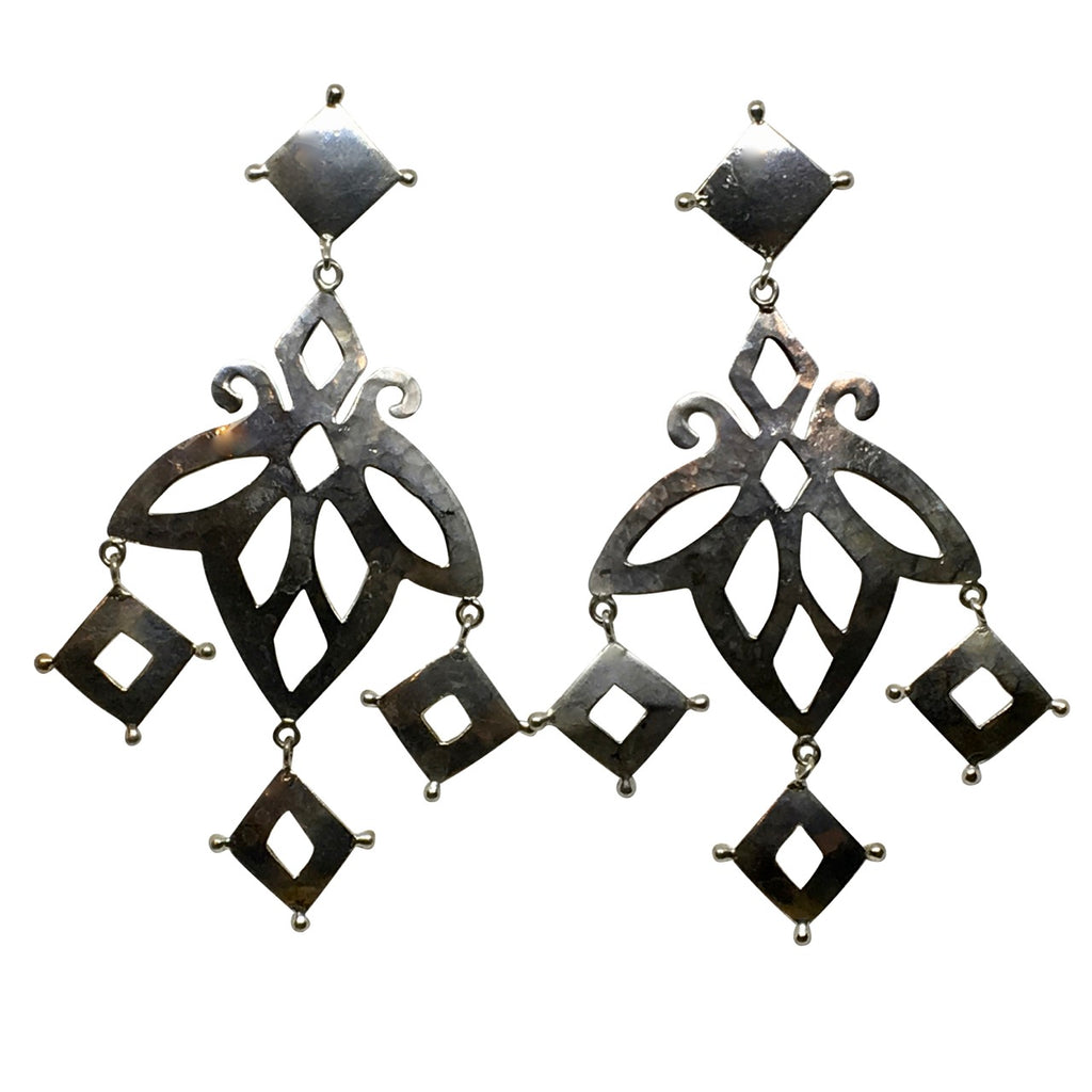 Corfu hammered cut out silver earrings