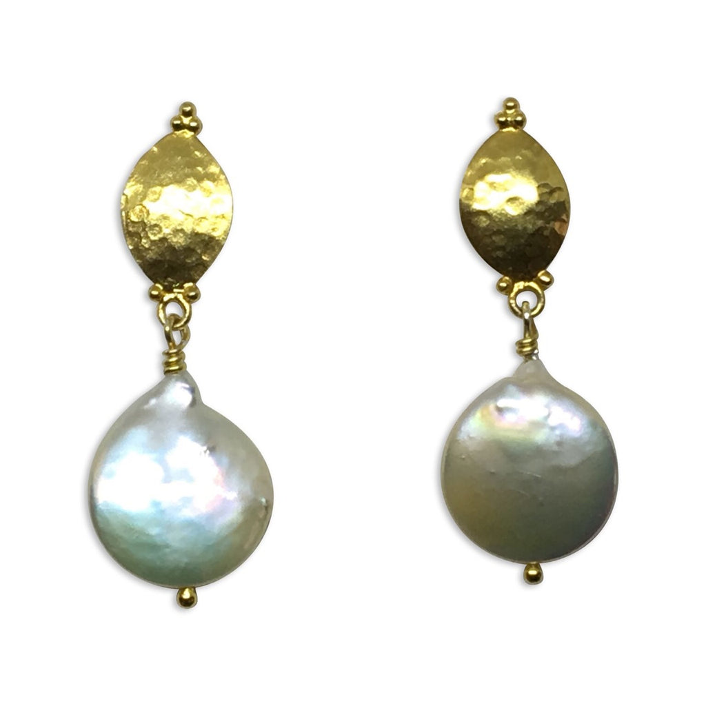 Pearl and gold marquise earrings