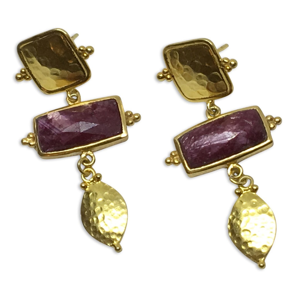 Ruby rectangle earrings