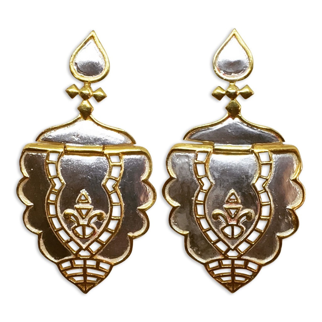 """Casablanca"" two tone scalloped earrings"
