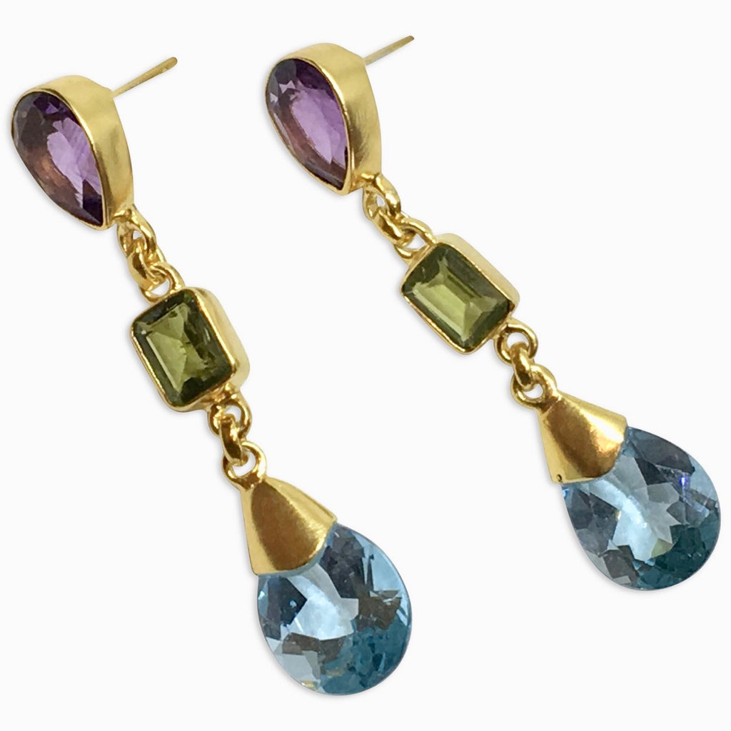 Blue topaz, peridot and citrine earrings