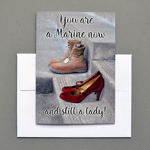 Still a lady military greeting card for female Marines