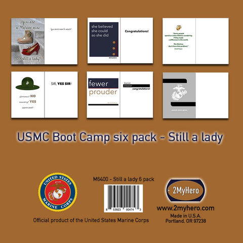 2MyHero US Marine Corps mixed six pack military encouragement greeting cards