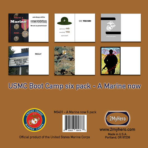 2MyHero US Marine Corps A Marine Now Mixed Pack of 6 Graduation greeting cards and 6 envelopes