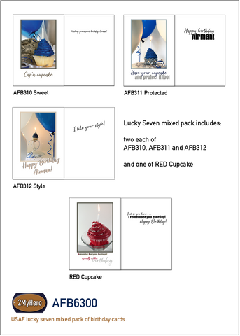 US Air Force lucky seven mixed pack of military birthday greeting cards - AFB6300 - by 2MyHero