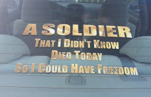 Decal on a car makes a sobering statement.