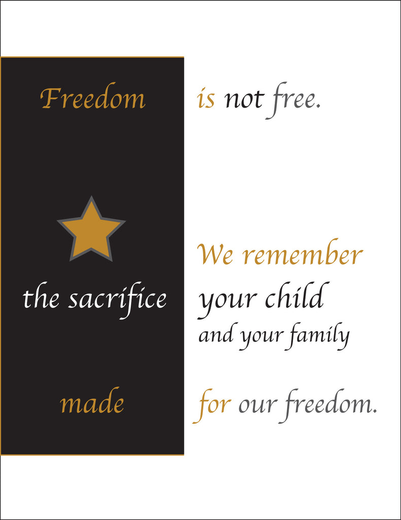 Gold Star - Freedom is not free - 2MyHero military sympathy greeting card (front)