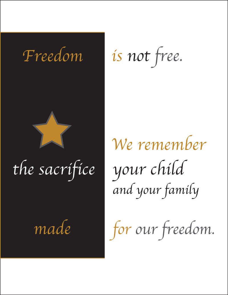 Gold Star - Freedom is not free - military sympathy greeting card - 2MyHero