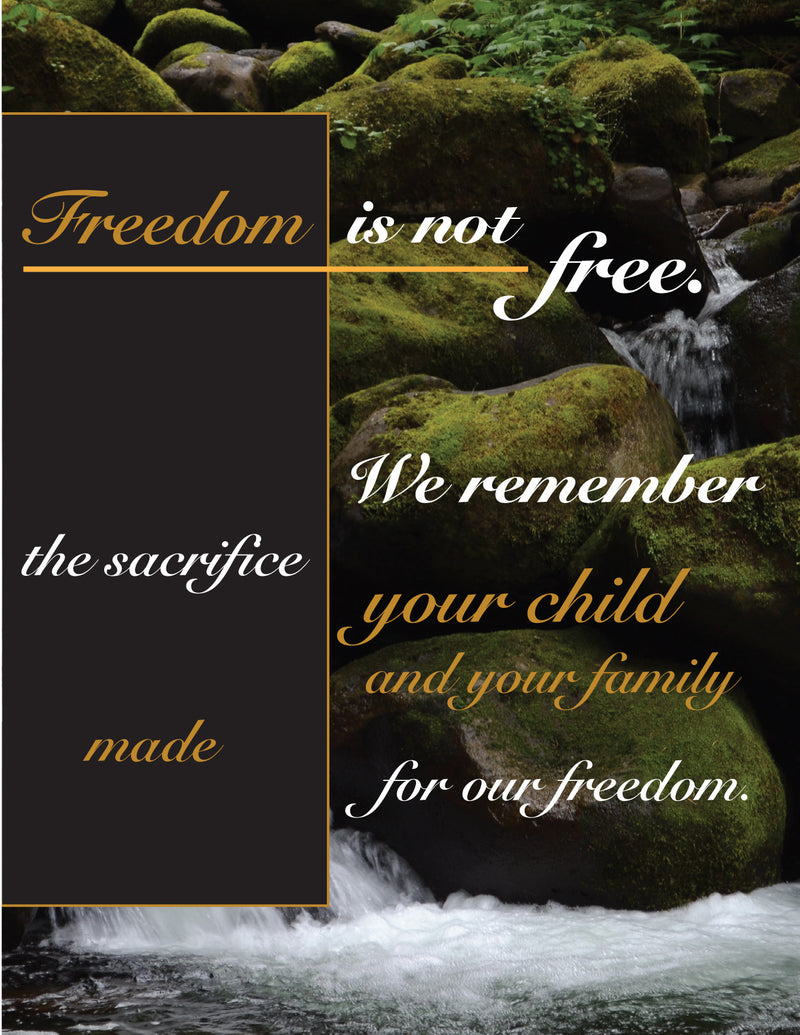 Gold Star - Freedom waterfall - military sympathy greeting card - 2MyHero