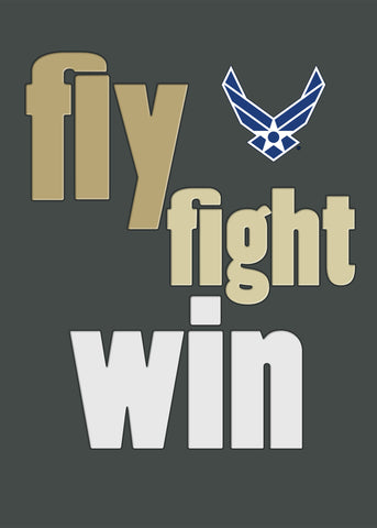 2MyHero USAF military graduation greeting card - Fly fight win - (front)