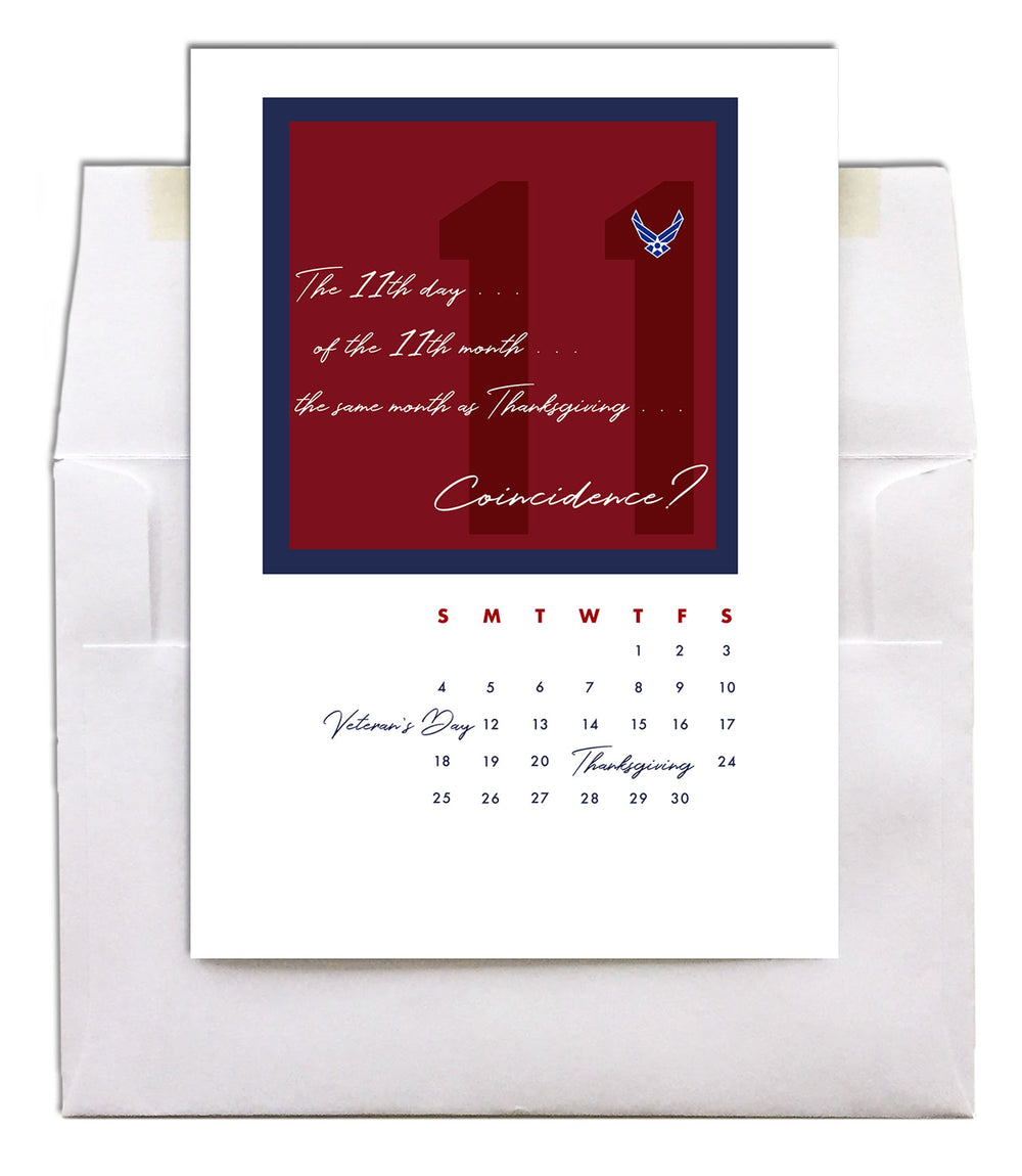 USAF Veteran's Day Greeting Card - No Coincidence - 2MyHero