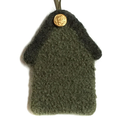 Felted Ornament - US Army, 100% wool felted house with button - 2MyHero