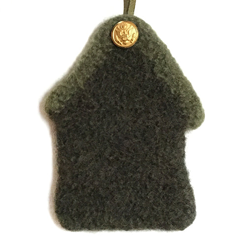 Ornament - US Army, 100% wool felted house with button - 2MyHero