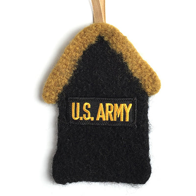 Felted Ornament - US Army, 100% wool felted house with U.S. Army patch - 2MyHero