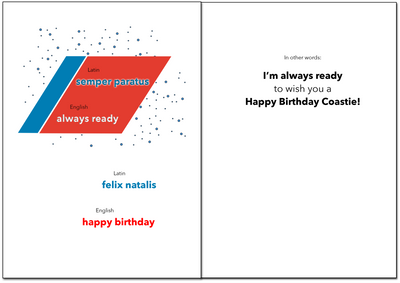 USCG Birthday - Latin military birthday greeting card - wholesale - 2MyHero