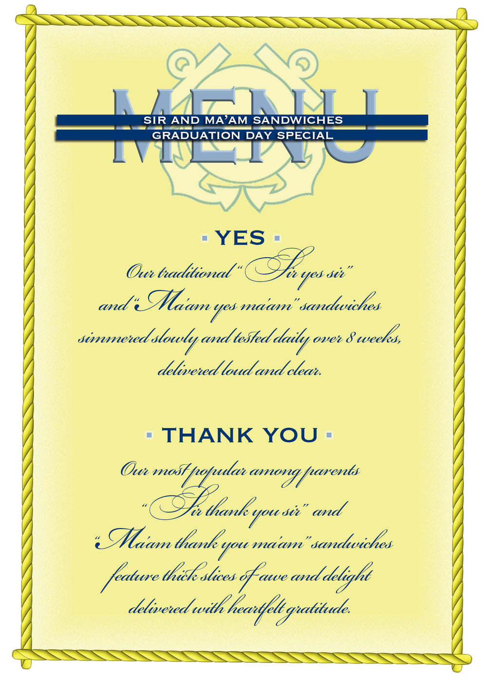 USCG military CC thank you greeting card - Menu - 2MyHero