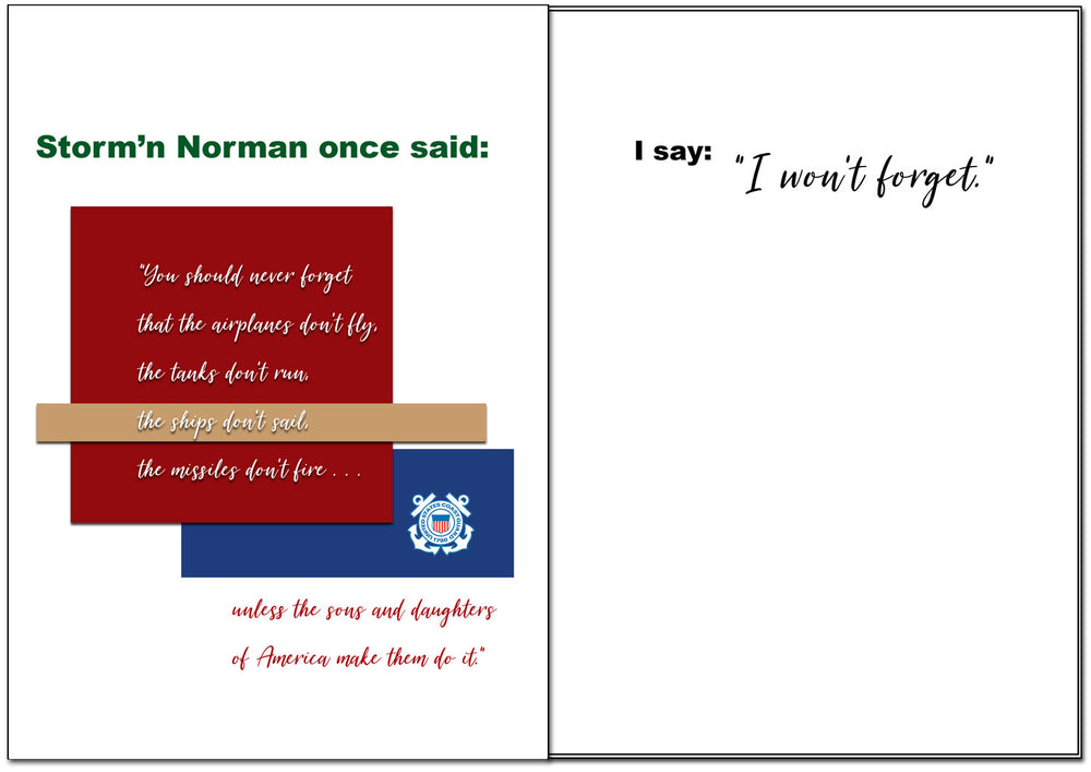 USCG Veteran's Day Greeting Card - Storm'n Norman - 2MyHero