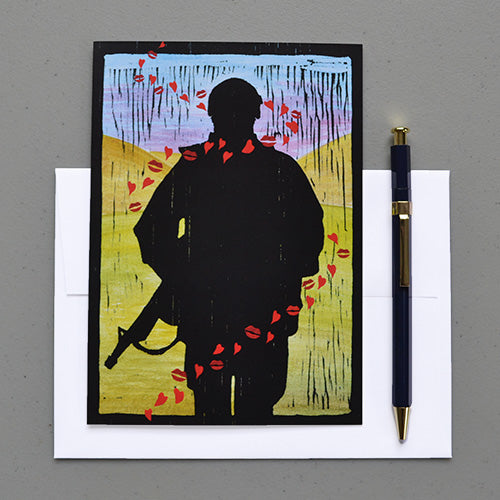 2MyHero - military encouragement greeting card - Tracer Kisses front with envelope and pen