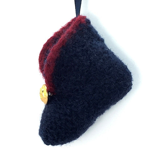 2MyHero USMC handmade 100% wool felted baby bootie with military brass button - small -  blue with red side view