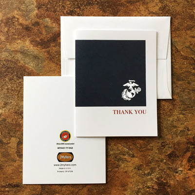 USMC Eight pack - Thank you cards (blank inside) - 2MyHero