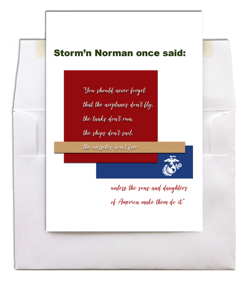 USMC Veteran's Day Greeting Card - Storm'n Norman - 2MyHero