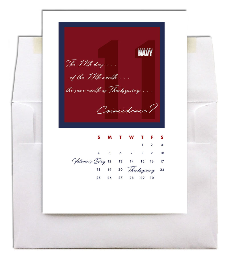 USN Veteran's Day Greeting Card - No Coincidence - 2MyHero