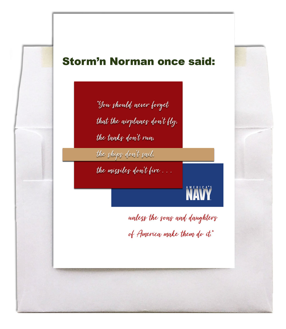 USN Veteran's Day Greeting Card - Storm'n Norman - 2MyHero