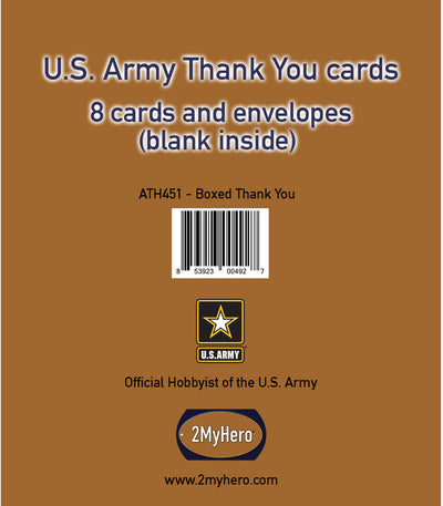 US Army Thank You Notecards (gold front - blank inside) - wholesale - 2MyHero