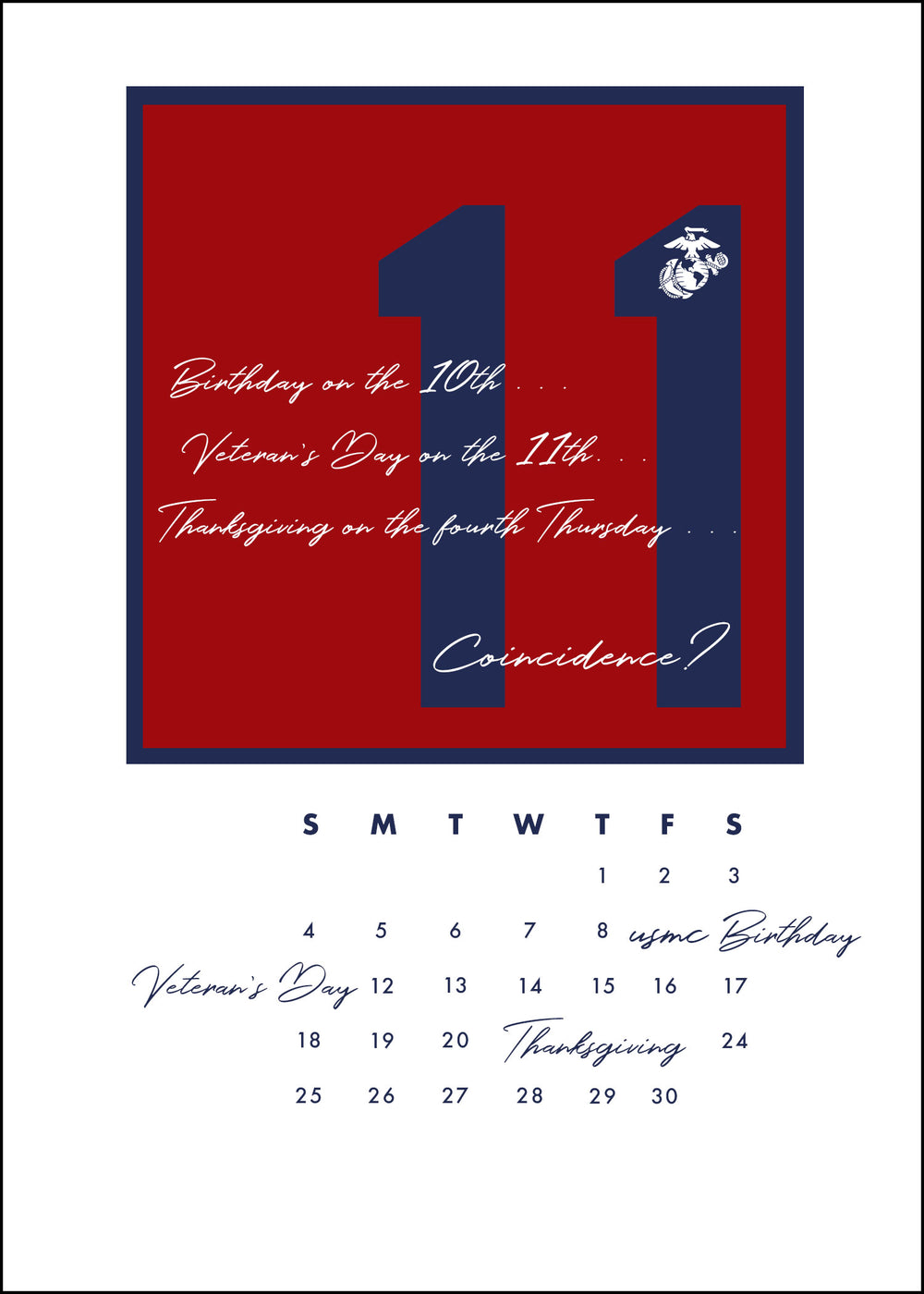 USMC Veteran's Day Greeting Card - No Coincidence - 2MyHero