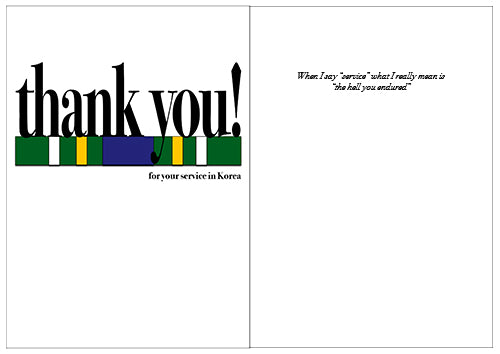 2MyHero military greeting card for Veteran's Day - Say what you mean! Korea (front and inside)