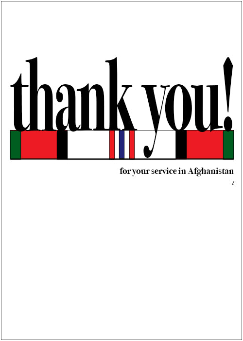 Veteran's Day military greeting card - Say what you mean! - Afghanistan - Wholesale - 2MyHero