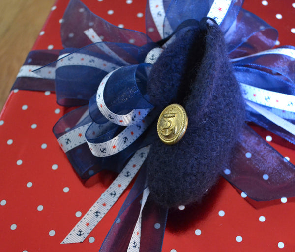 Ornament - USN, 100% wool felted small bootie with button - 2MyHero