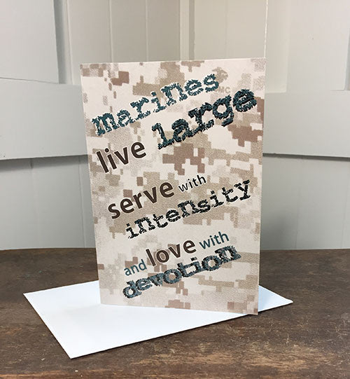 2MyHero USMC military encouragement greeting card - Live large (front)