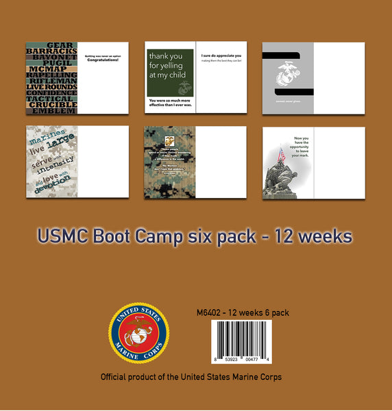 2MyHero USMC Six pack - 12 weeks - mixed pack of six military encouragement and graduation greeting cards
