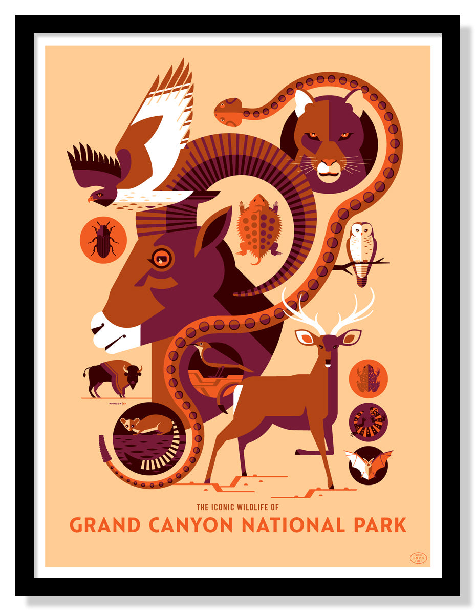 Iconic Wildlife of Grand Canyon National Park Poster (Large Timed Edition)