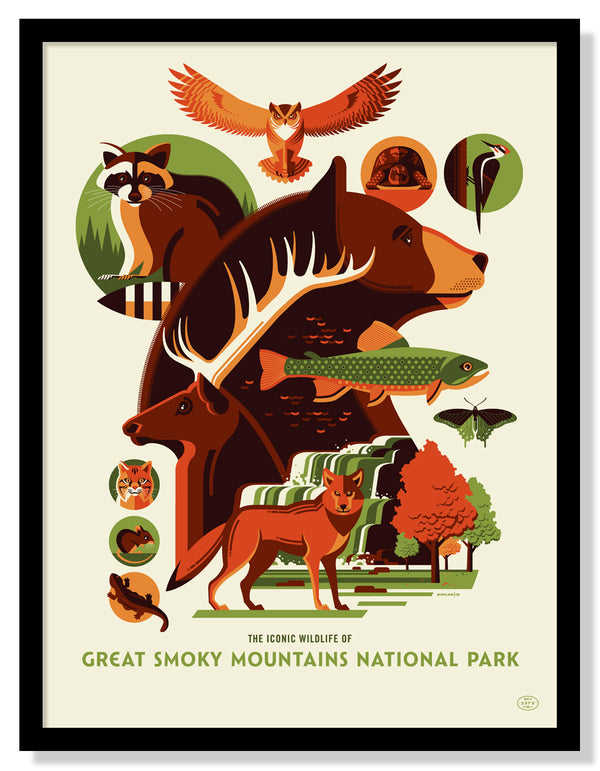 Iconic Wildlife of Great Smoky National Park Poster (Large Timed Edition)