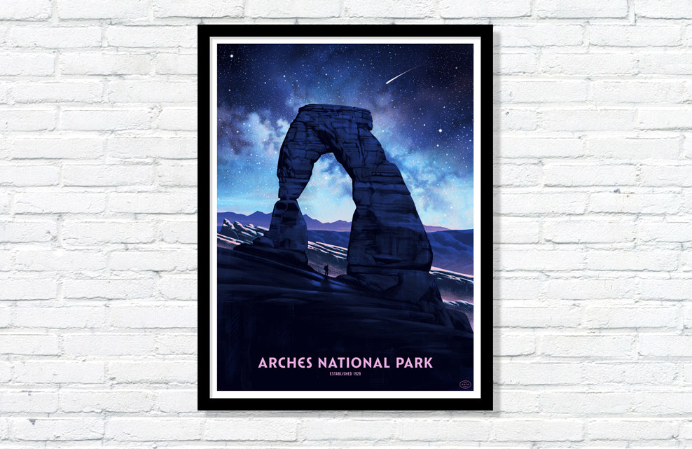 Arches National Park Poster (Delicate Arch - Night Sky)