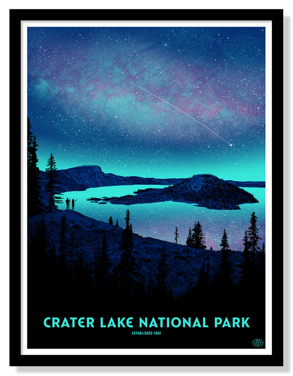 Crater Lake National Park Poster (Night Sky)
