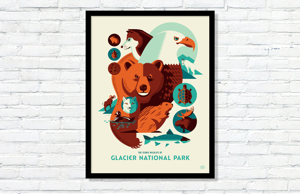 Iconic Wildlife of Glacier National Park Poster
