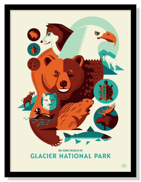 Iconic Wildlife of Glacier National Park Poster (Large Timed Edition)